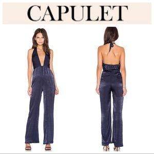 🆕Revolve Capulet Halter Neck Jumpsuit Navy NWT